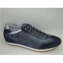 Chaussures à bout rond en dentelle bleu marine