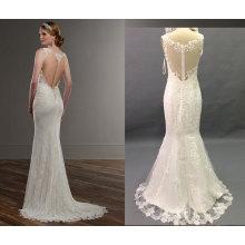 Ilusión de espalda ajustado y vestido de boda de llamarada