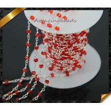 Cadena del rosario de la manera, cadena del grano del rosario Venta al por mayor, cadena moldeada envuelta alambre (JD007)