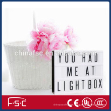 Battery operated led light box with 85 letters