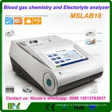 L'analyseur portable de gaz sanguin / analyse chimique des gaz sanguins et des électrolytes peut être testé avec le PH, PCO2, PO2 MSLAB18i