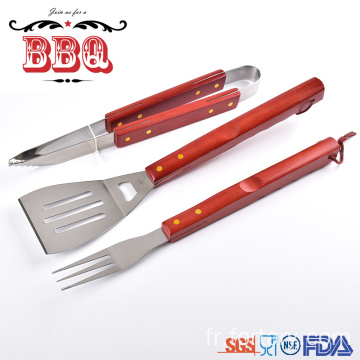 outil barbecue griller manche bois outils barbecue