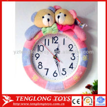 """Hot sale family 12"""" lovely washable plush wall clock with bear toys"""