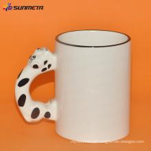 Gato branco da caneca da sublimação