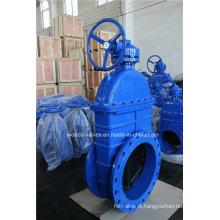 Válvula de porta de borracha do ferro dúctil dos Nrs para a água (Z45X-10/16)