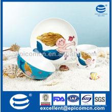 Fabrikverkauf 3pcs Porzellanabendessengeschenksatz für Kinder täglich Gebrauch mit Karikaturdekoration