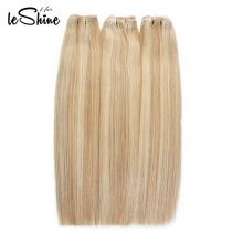 Os pacotes retos brasileiros tirados dobro do cabelo humano de 100% acenam o cabelo louro europeu / russo 613