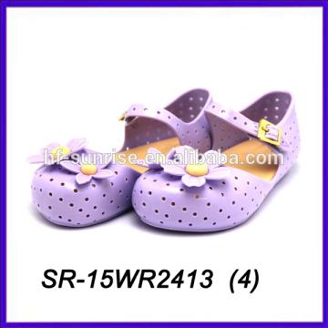 Sommer lila Blütenblatt Kunststoff Gelee Schuhe PVC-Gelee Schuhe Kinder Gelee Schuhe