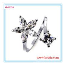 Уникальный дизайн серебристого кольца ювелирной циркониевой спирали