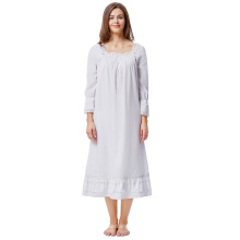 Kate Kasin mujeres damas de estilo victoriano de manga larga cuello cuadrado 100% algodón vestido de noche vestido de dormir KK000467-1