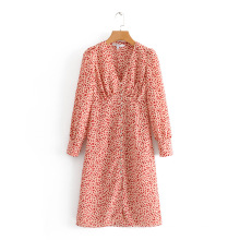 Nouvelle robe longue à boutons à l'avant pour femmes à impression numérique