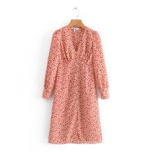 New Digital Printing Women Long Front Button Dress