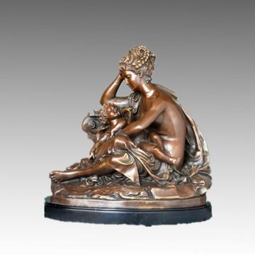 Female Classical Figure Bronze Sculpture Mother-Son Decor Brass Statue TPE-405