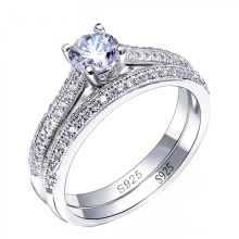 925 Silver CZ Diamond Engagement Rings Set