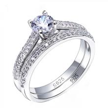 Conjunto de anéis de noivado de diamante em prata 925 Silver CZ