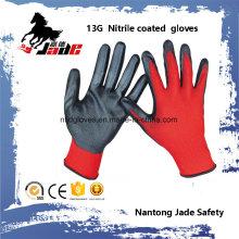 13G Nylon Line Luva lisa com nitrilo de palma preto
