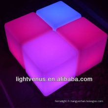 Changeant de couleur RGB conduit bar cube chaise décoratives led tabourets de bar