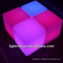 Changeant de couleur RGB conduit bar cube chaise décoratives led tabourets de bar