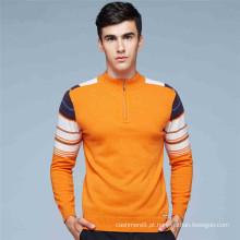 Venda por atacado personalizadas mens knitted quarter zip collar pullover cachemire zipper pullover
