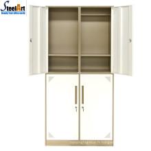 Meubles de chambre de haute qualité armoire à quatre portes en métal