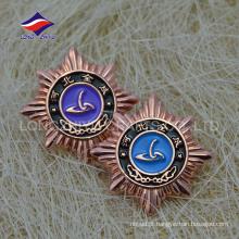 Metal emblema de estrela marca marca de cobre com logotipo