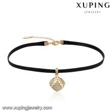 44057 Rhombus de la joyería de las mujeres al por mayor de la manera formado con el collar de gargantilla de cuero de zircon minúsculo