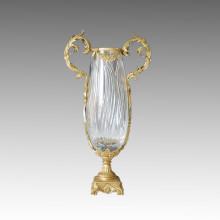 Statue de vase en cristal Jardiniere Bronze Sculpture Tpgp-010 (J)