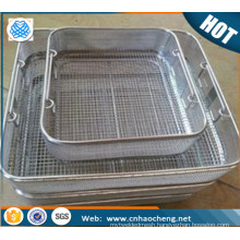 Metal 304 sterilization wire mesh storage basket for food service equipment