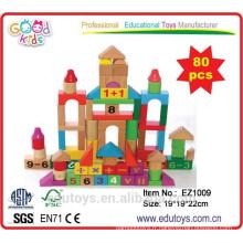 Kindergarten 80pcs Kids Wooden Block Toys à vendre