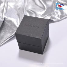 Impressão por atacado caixa de papel de embalagem de presente de relógio de papelão preto de luxo