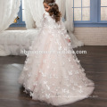 Cheap Price Princess White And Pink Dress Tulle Lovely Lace Flower Girl Dress For Wedding With Betterfly Appliqued Cape