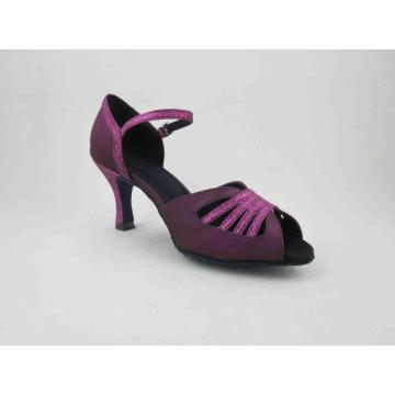 Scarpe viola da donna in raso color salsa