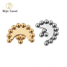 Fashion ASTM F136 Titanium high polished Moon Shape Beaded Ear Piercing for women