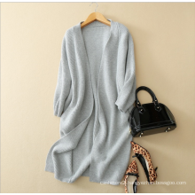 women's pure cashmere deep v neck knitting overcoat winter thick cashmere cardigan design