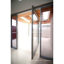Porte en pivotement en verre trempé en aluminium anodisé