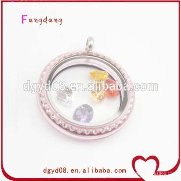 Medallones de color rosa populares medallones cristal por mayor de joyería de moda
