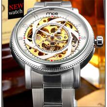 Chinese wholesale steel skeleton watch men customize