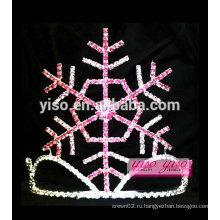Зимние модные украшения для волос простые хрустальные снежинки детские тиары