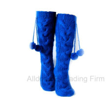 New Fashion POM POM Winter Hand Knitted Indoor Floor Socks