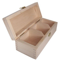 New Wood/ Plain Wooden Chest Tea Bags Box 3 Compartments Decoupage Craft