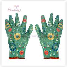 13gauge Нитрила покрытием ладони/Окунутый полиэстер женщин сад перчатки безопасности работы