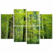 Impressão verde da lona da floresta / arte da cópia da lona do grupo / arte natural da parede da paisagem