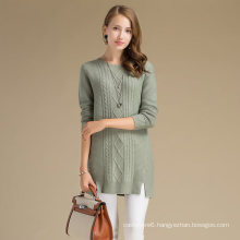 Stay Warm Women Winter Cashmere Wool Fabric Sweater With Rhombus Pattern