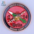 Pièce de défi en métal marine de l'émail doux des USA 40mm de coutume pour le cadeau de souvenir