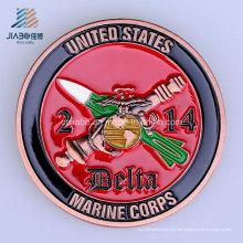 Benutzerdefinierte 40mm weiche Emaille USA Marine Metall Herausforderung Münze für Souvenir Geschenk