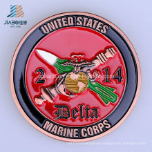 Custom 40mm Soft Enamel USA Marine Metal Challenge Coin for Souvenir Gift
