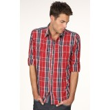 Men's Long Sleeve Double Pocket Check Casual Shirt