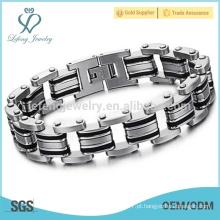 Hot venda mens pulseiras de aço inoxidável, braceletes link, jóias de fantasia