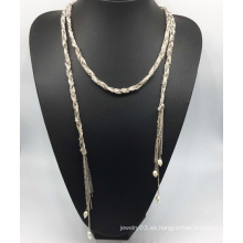 Glory Colorful Chain Pearl Drop Necklace (XJW13766)