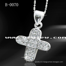 Fashion Cross Pendant with CZ (B-0070)